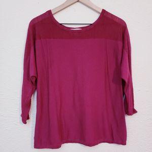 LOFT pink knit blouse size Medium